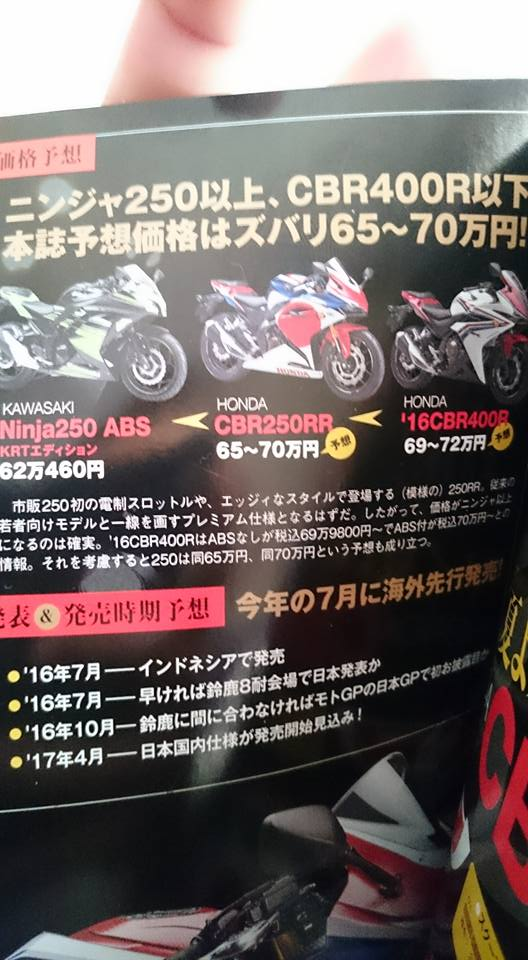 estimasi harga cbr250rr di Jepang